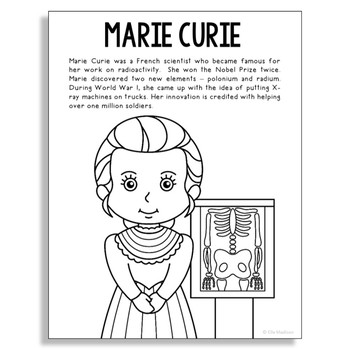 Marie Curie Coloring Page Craft or Poster with Biography, Radiology, STEM