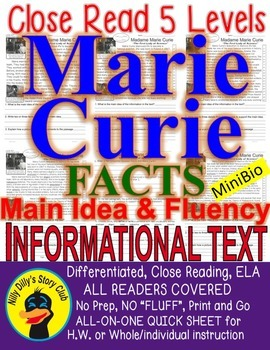 Marie Curie FACTS Close Read 5 Levels Differentiated passages ALL-READERSCOVERED
