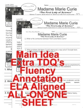 Marie Curie CLOSE READING 5 LEVELED PASSAGES Main Idea Fluency Check TDQs & More