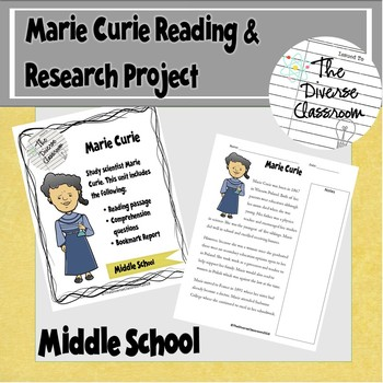 Marie Curie Reading Comprehension & Research Project Middle School