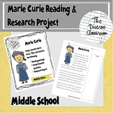 Marie Curie Reading Comprehension & Research Project Middl