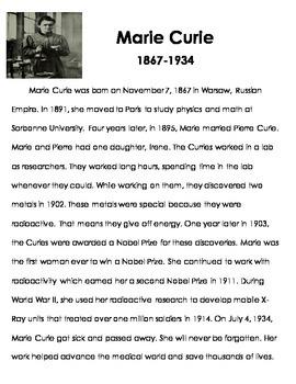 Marie Curie Reading Passage and Timeline