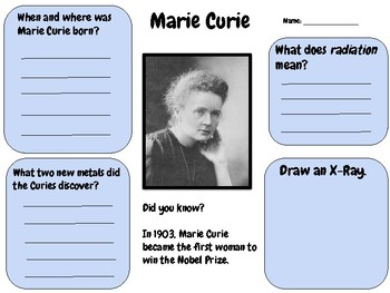 Marie Curie - Research Activity (Women's History Month)