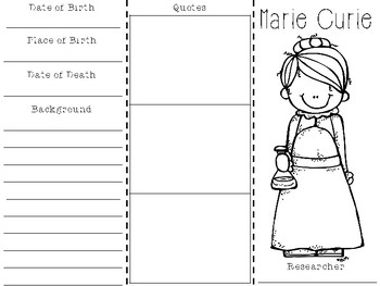 Marie Curie Biography Brochure