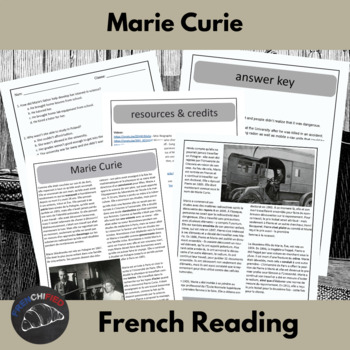 Marie Curie - a reading activity for French learners