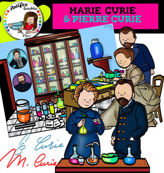Marie Curie and Pierre Curie clip art