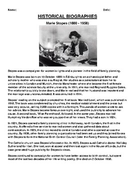 Marie Stopes Biography Article and (3) Assignments