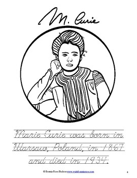 Marie and Pierre Curie Coloring Book-Level C
