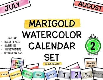 Marigold Watercolor Calendar Set