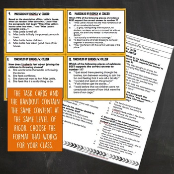 Marigolds Cite Textual Evidence Task Cards