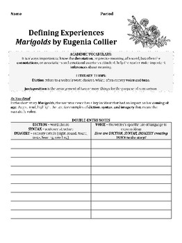 marigolds by eugenia collier short story analysis lesson tpt  marigolds by eugenia collier short story analysis lesson