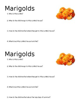 Marigolds Mini Quiz 2