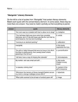 """""""Marigolds"""" Short Story:  Worksheet Bundle"""