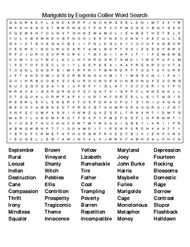 Marigolds by E Collier Crosswords & Word Searches w/KEYS