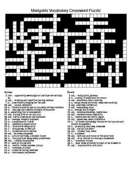 Marigolds by E. Collier: Vocabulary Crossword & Word Search