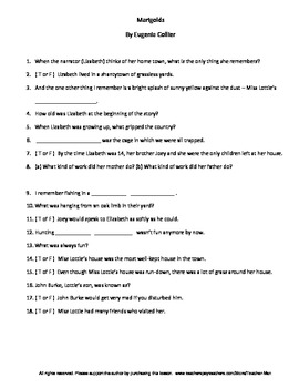 Marigolds by Eugenia Collier Complete Guided Reading Worksheet