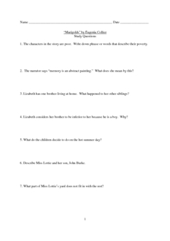 """""""Marigolds"""" by Eugenia Collier Short Story Study Questions"""