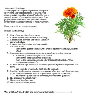 """""""Marigolds"""" by Eugenia W. Collier 5 Day Unit"""