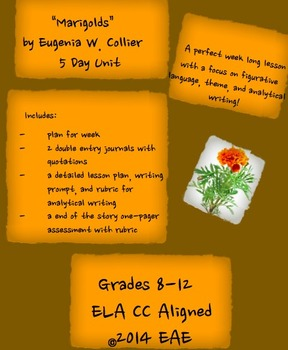 """Marigolds"" by Eugenia W. Collier 5 Day Unit"