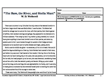 """The Bass, the River, and Sheila Mant"" by W.D. Wetherell: Annotation Organizer"