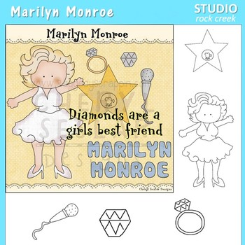 Marilyn Monroe Color and Line Drawings Clip Art  C. Seslar