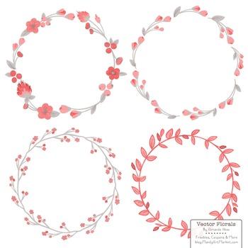 Marina Coral Floral Wreaths & Laurels