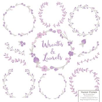 Marina Lavender Floral Wreath Clipart & Laurels Clipart