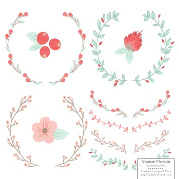 Marina Mint & Coral  Floral Wreaths & Laurels
