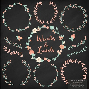 Marina Mint & Peach Floral Wreaths & Laurels