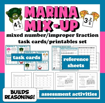 Marina Mix-Up mixed numbers & improper fractions task card