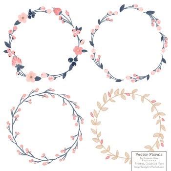 Marina Navy & Blush Floral Wreaths & Laurels