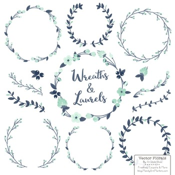 Marina Navy & Mint Floral Wreaths & Laurels