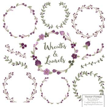 Marina Plum Floral Wreaths & Laurels
