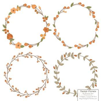 Marina Pumpkin Orange Floral Wreaths & Laurels