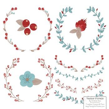 Marina Red & Robin Egg Floral Wreaths & Laurels
