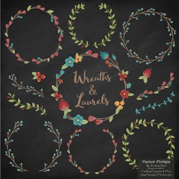 Marina Retro Bold Floral Wreaths & Laurels