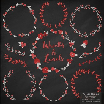 Marina Ruby Red Floral Wreaths & Laurels