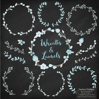 Marina Soft Blue Floral Wreaths & Laurels