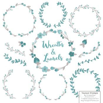 Marina Vintage Blue Floral Wreaths & Laurels