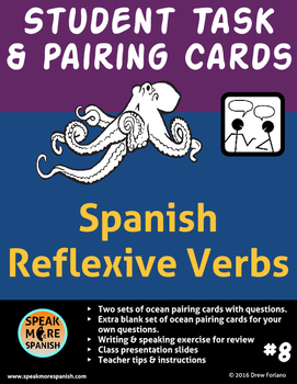 Spanish Task and Pairing Cards for Reflexive Verbs. Verbos