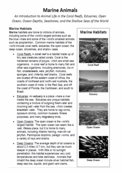 Marine Animals: A Thematic Notebooking Unit