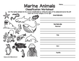 Marine Animals Classification Worksheet & Fun Facts Coloring/Activity Pages
