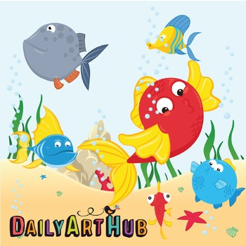 Marine Animals Clip Art - Great for Art Class Projects!