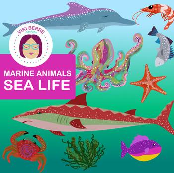 Marine Animals Sea Life packet, ocean, clip art