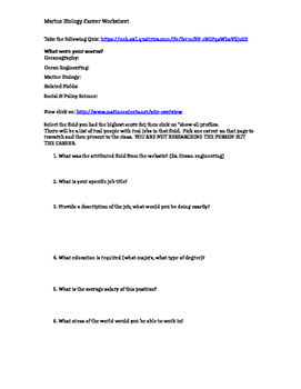 Marine Biology Career Worksheet
