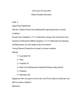Marine Ecosystem 5E 4th Grade Science Lesson Plan
