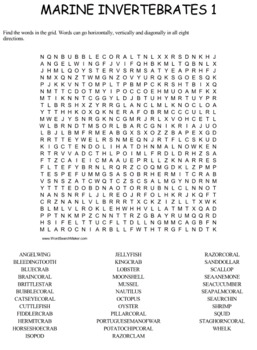 Marine Invertebrates Word Search Puzzles
