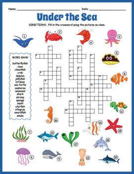 Under the Sea Crossword Puzzle by Puzzles to Print | TpT