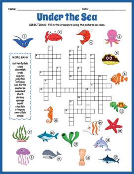 Under The Sea Crossword Puzzle Ocean Crossword Puzzle By