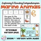 Marine/Ocean Animal Sequencing ~ Listening & Reading Comprehension